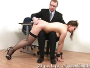 Painful cuffed discipline lesson in stockings