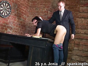 Nude spanked buttocks of a sales manager