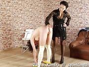 Lesbian principal humiliates and spanks