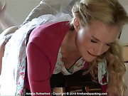 Panties down, nurse Amelia Rutherford is soundly spanked for