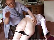 400-smack non-stop spanking turns Helen's bare bottom a