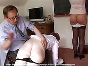 400-smack non-stop spanking turns Helen's bare bottom a