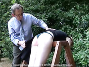Bare bottom paddling for Helen Stephens after failing to