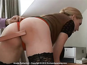 Amelia Rutherford right royal bare bottom spanking with a