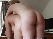 Stripped naked, two beauties bend over together as Helen is