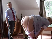 Bare bottom caning for Amelia Rutherford is a challenge