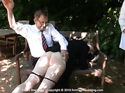 Helen Stephens has her bare bottom soundly spanked in a