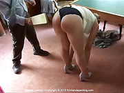 Bare bottom paddling - Belinda Lawson grabs her ankles for