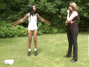 Sportive black girl spanked