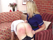 Slutty redhead spanked