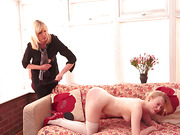 Blonde MILF paddled