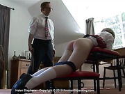 Helen Stephens is strapped to the max, bare bottom, a full