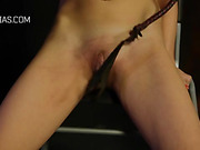 Redhead seriously whipped on her thighs