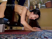 Cute university student get clamps on her pussy