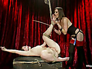 Lesbo domme bound, whipped and fucked young girl