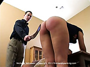Michaela's 21 with a tawse, panties down, for failing