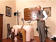 Bent over table bitch took long spanking