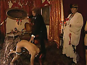 Scared young girls punished by master