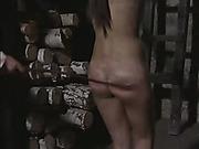Nude woman got spanking