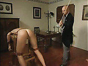 Tight-ass girl was caned OTK until crying