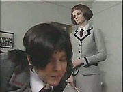 Violent caning from a teacher for bitchy schoolgirl
