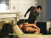 Horny couple examined and spanked little Russian bum