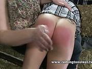 Nasty heavy-handed mistress spanked redhead babe