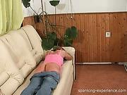 Teen babe got spanking for pretending ill