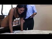 Sexy dealer Melanie got spanked for theft
