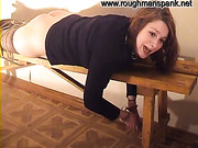 Harsh spanking session after answering questions