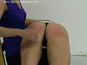 Lesbo OTK spanking with two hot bitches