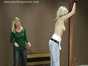 Bad blonde punished by lesbian girlfriend