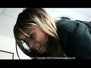 36 with a gym slipper on Rhianna Parsons' nude bottom
