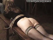 Russian whore in stockings tied and punished