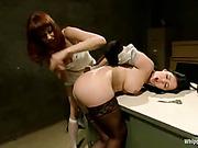 Poor slave girl screaming from harsh flogging