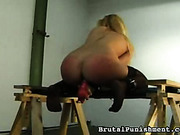 Bound busty blonde likes dildos and spanking