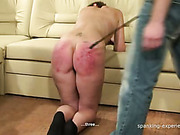 Bad hot brunette got ass caned hard