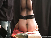 Harsh paddling set for cutie in nylons