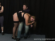 Lesbo bitch spanked chubby in stockings