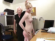 Lesbian spanking session in the office