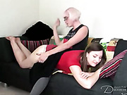 Lesbo cutie with posh body spanked by bitch