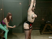 Severe lesbian spanking of girl by angry mistress
