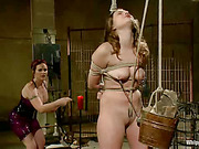 Cruel lezdom domme spanked bound girl Mz Berlin