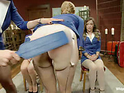 Three young bitches with posh booties got lesbo punishment