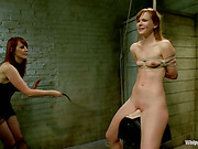 Nice naked bitch was punished by lesbo domme
