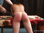 Paddling punishment for a hot curvy babe