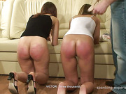 Two girls screamed as getting spanked at home