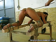 Great young brunette got ass caning