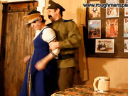 Naughty Russian whore caned in a tavern