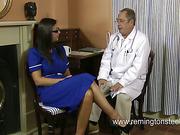 Slutty nurse was spanked by kinky doctor